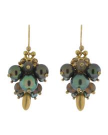 Black Pearl Bug Earrings