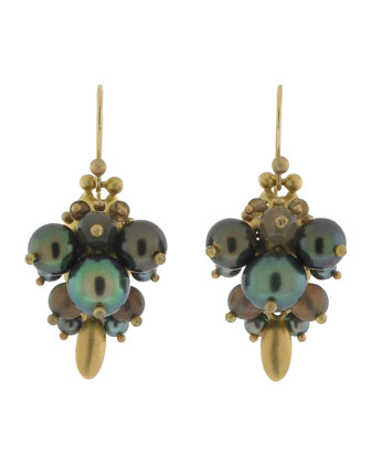 Black Pearl Bug Earrings