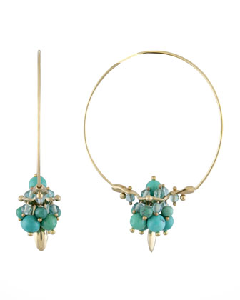 Chinese Turquoise Hoop Earrings