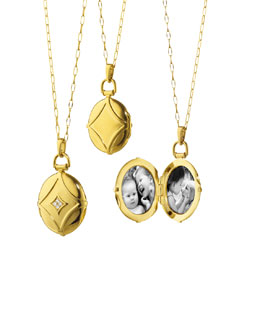 Monica Rich Kosann Pave Diamond Gold Geometric Locket Necklace