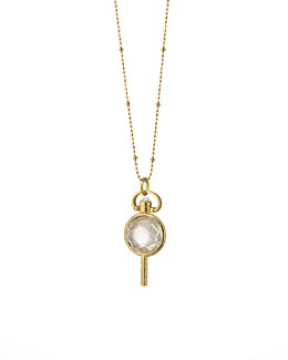 Monica Rich Kosann Mini Round Rock Crystal Pocket Watch Key Necklace