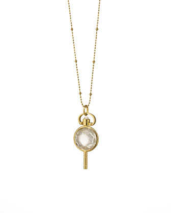 Mini Round Rock Crystal Pocket Watch Key Necklace