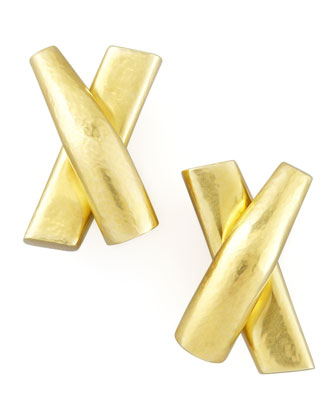 Green Gold X Clip Earrings
