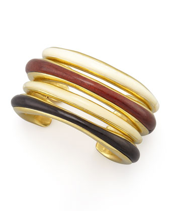 Stacked Wood Green Gold Cuff