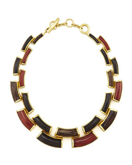 "Vaubel Designs Curved Wood Link Necklace, 20""L"