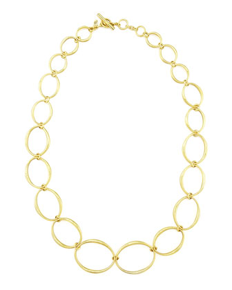Green Gold Oval Links Necklace