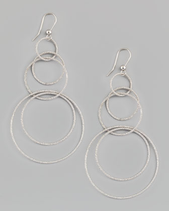 Gitane 18k White Gold Sparkly Hoop-Drop Earrings