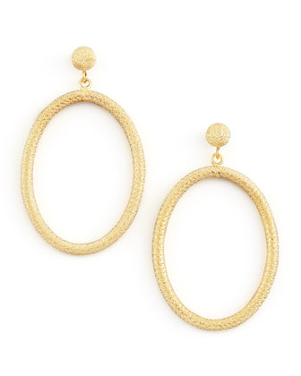 Gitane 18k Yellow Gold Sparkly Oval Drop Earrings