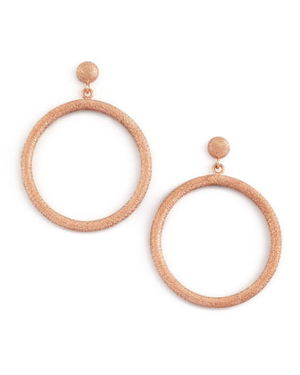 Gitane 18k Pink Gold Sparkly Circle Drop Earrings
