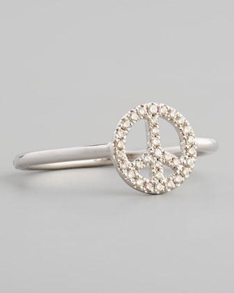 14k White Micro Pave Diamond Peace Ring
