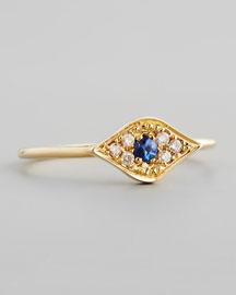 14k Yellow Mini White Diamond Evil Eye Ring