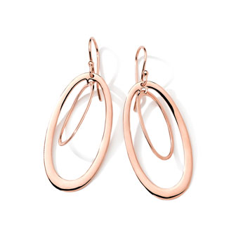 18k Rose Gold Double-Oval Earrings