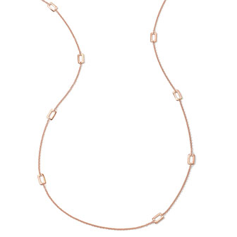 18k Rose Gold Windowpane-Station Necklace, 40