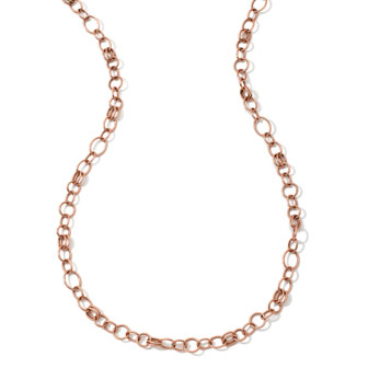 18k Rose Gold Classic Link Long Chain Necklace, 33