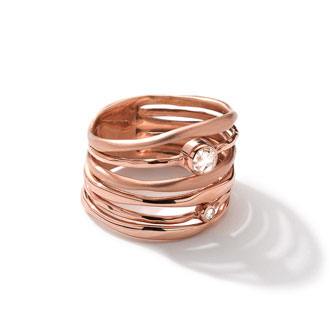 18k Rose Gold Movie Star Ring with Diamonds
