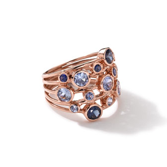 18k Rose Gold Rock Candy Constellation Ring in Blue Sapphire