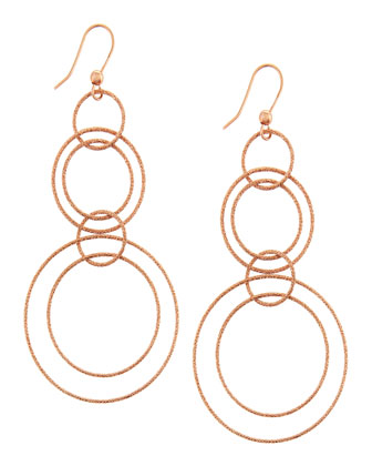 Gitane 18k Rose Gold Sparkly Hoop-Drop Earrings