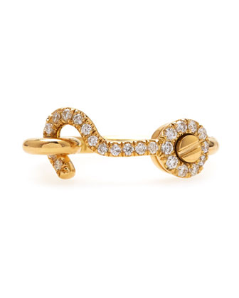 Thin Diamond-Hook Ring in 18k Yellow Gold