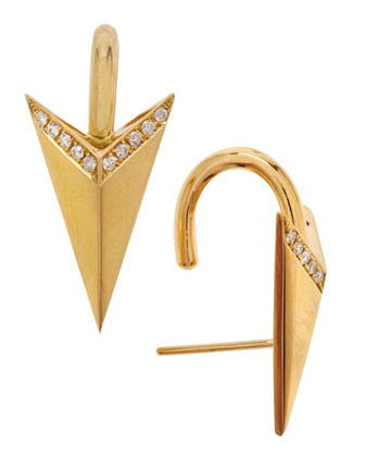 Diamond Arrow 18k Gold Earrings, Yellow Gold