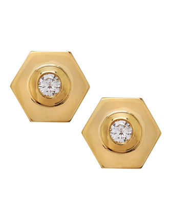 Diamond-Center 18k Gold Hexagon Earrings
