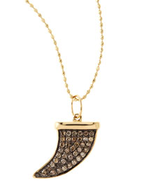 Medium Horn Pendant Necklace with Champagne Diamonds