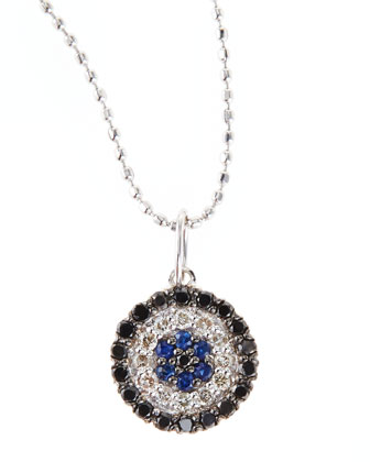 Evil Eye Disc Necklace with Diamonds and Sapphires