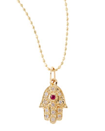Hamsa Necklace with Diamonds and Ruby