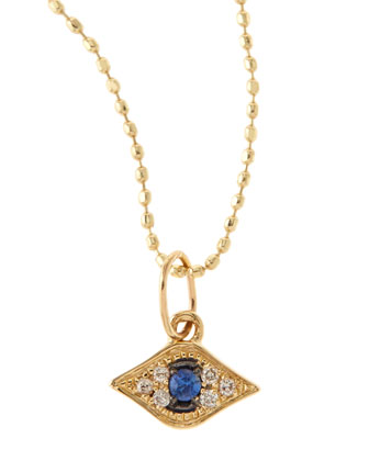 Baby Evil Eye Necklace with Diamonds & Sapphire, 14K Yellow Gold