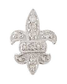 14K Fleur-de-Lis Single Stud Earring with Diamonds