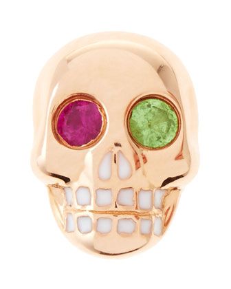 14K Single Skull Stud Earring with Ruby and Garnet