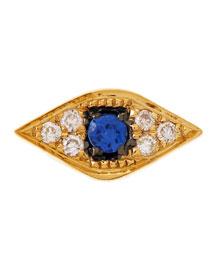 14K Evil Eye Single Stud Earring with Diamonds and Sapphire