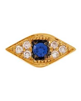 14K Evil Eye Single Stud Earring with Diamonds and Sapphire