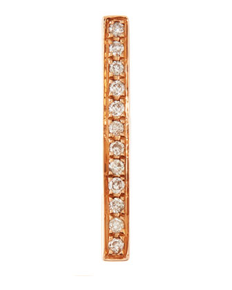 14K Medium Bar Single Stud Earring with Diamonds