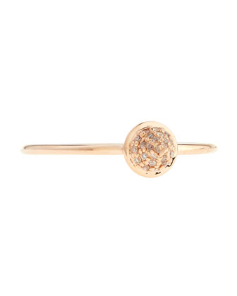 14K Rose Gold Spike Ring with Diamonds, Size 6