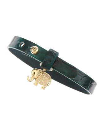 Pav?? Elephant Crocodile Wrap Bracelet, Jade