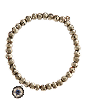 Evil Eye Silver Pyrite Bead Bracelet with Diamonds and Sapphires