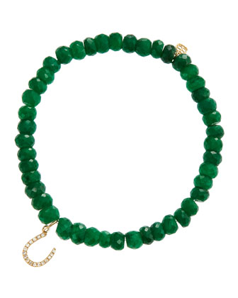 Horseshoe Emerald Bead Bracelet with Pavé Diamonds