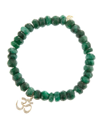 Om Emerald Bead Bracelet with Pavé Diamonds