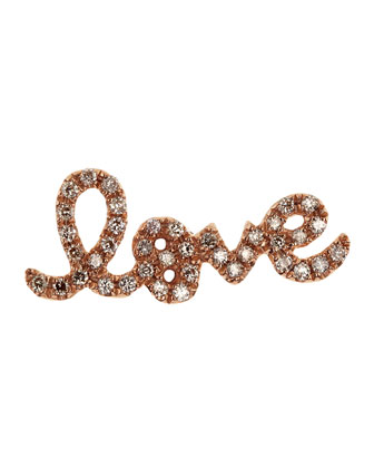 Pave White Diamond Love Single Stud Earring