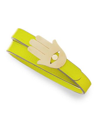 14K Hamsa Leather Wrap Bracelet