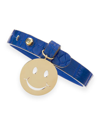 Happy Face Crocodile-Embossed Wrap Bracelet