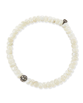 Pave Ball White Sapphire Bead Bracelet with Diamonds