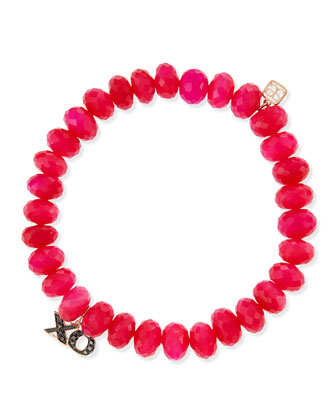 Pave XO Hot Pink Chalcedony Bead Bracelet with Black Diamonds