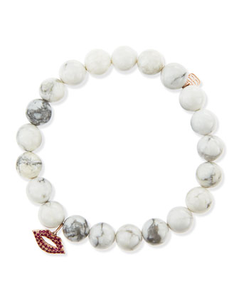Pave Lips Howlite Bead Bracelet with Rubies