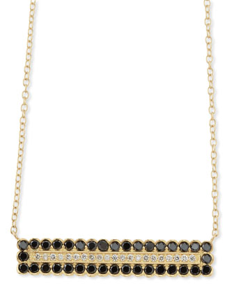 18k Scalloped Rectangle Necklace with Black and White Diamonds