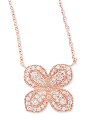 Rose Gold Pav?? Scalloped Flower Necklace with Diamonds