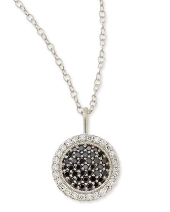 18k White Gold Scallop Necklace with Black and White Diamonds