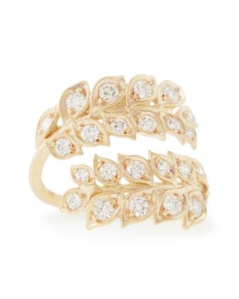 18k Vine Wrap Ring with Diamonds, Size 7