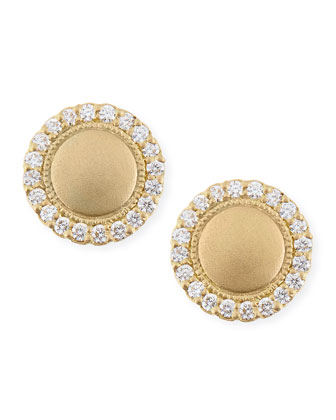 18k Scallop Stud Earrings with Diamonds