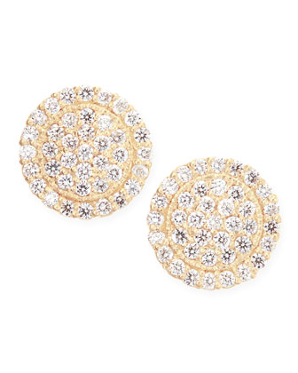 18k Pav?? Scallop Stud Earrings